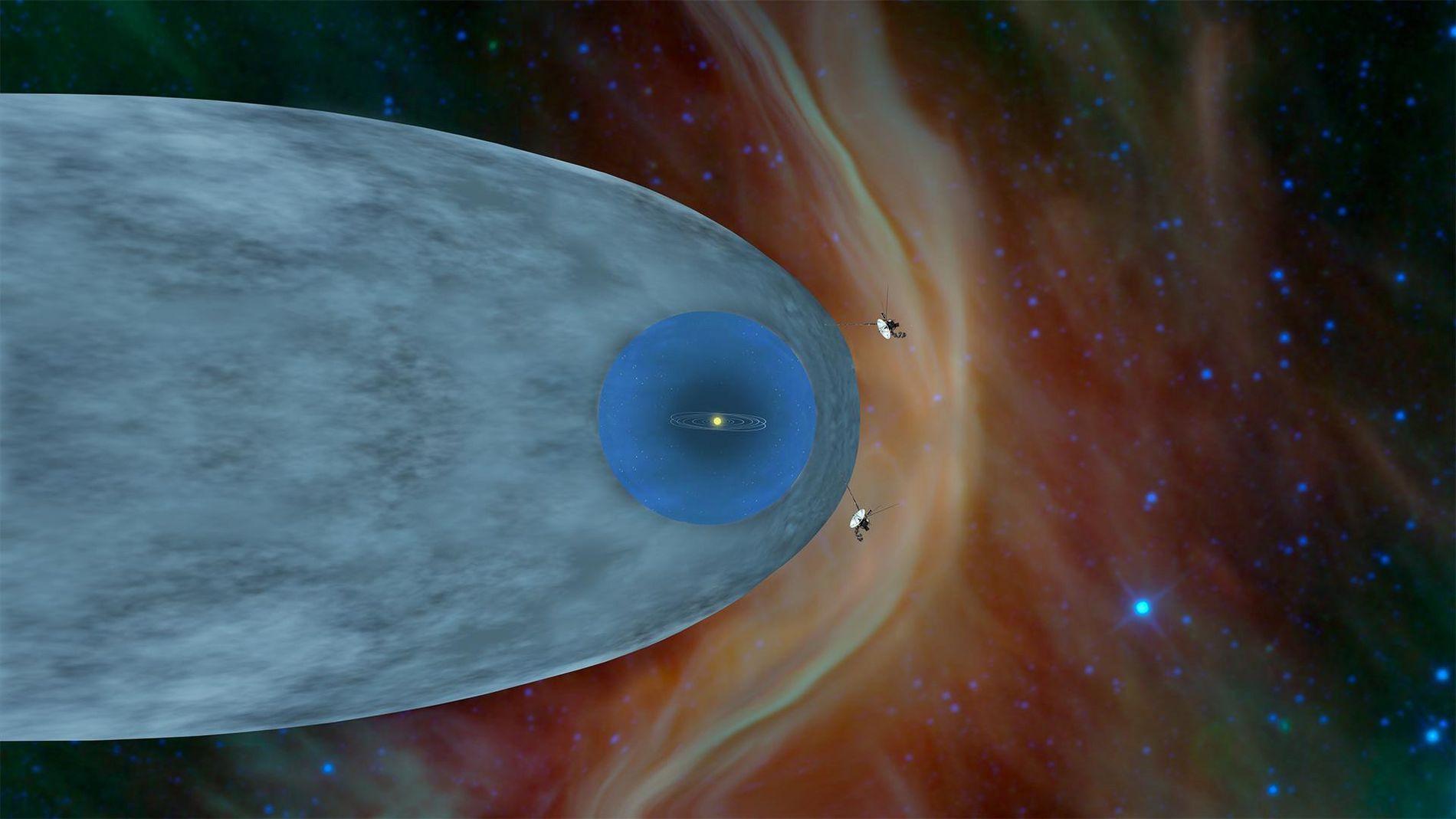 Cette illustration représente la position des sondes Voyager 1 et Voyager 2 de la NASA en ...