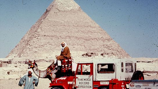 Picture of Albert Podell's co-leader on a camel in Giza