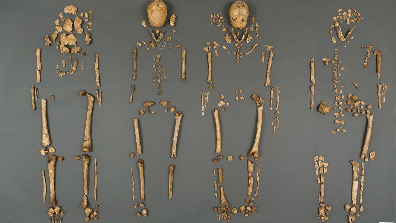 Les dépouilles des quatre hommes étaient en mauvais état, avec seulement 30 % de chaque squelette ...