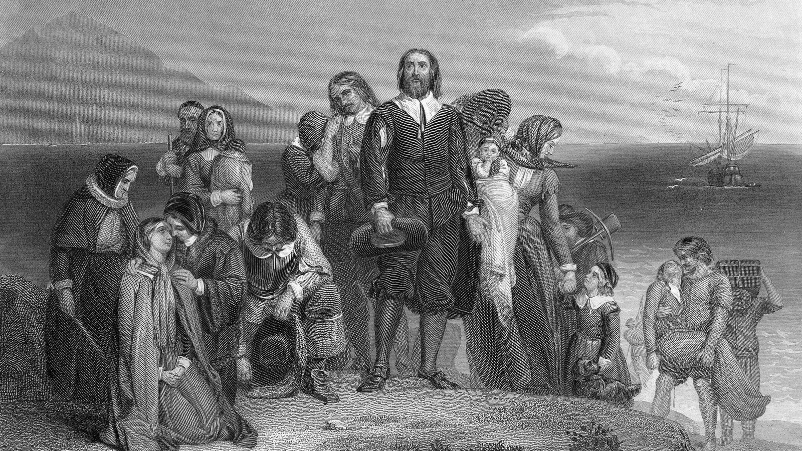 Cette gravure représente les pèlerins débarquant du Mayflower à Plymouth Rock, en 1620. En réalité, la première mention écrite ...