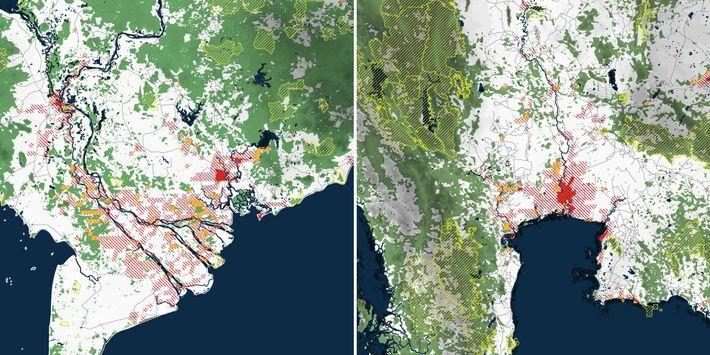 Ces cartes tirées de l'atlas sont des projections de l'expansion urbaine (zones hachurées en rouge) dans ...