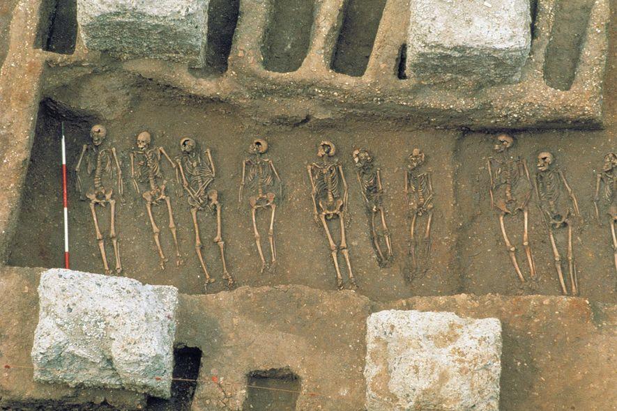 En 1986, les archéologues ont découvert une fosse commune à East Smithfield, à Londres, où les ...
