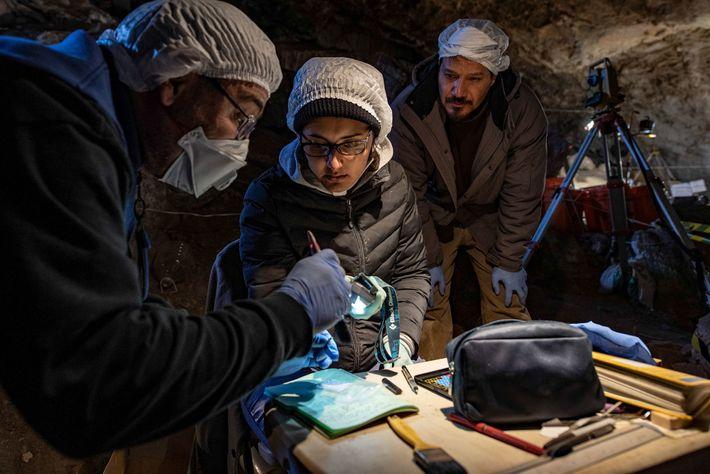 L'archéozoologue Joaquin Arroyo-Cabrales, à gauche, et l'expert en datation au carbone, Lorena Becerra-Valdivia, au centre, examinent ...
