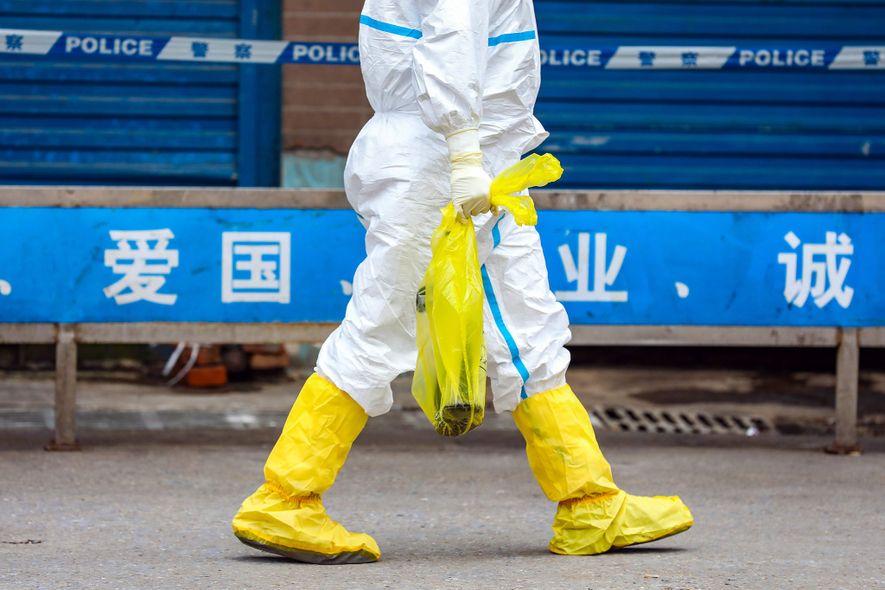 Au marché de Wuhan, la source potentielle de l'épidémie de coronavirus qui a éclaté en décembre ...