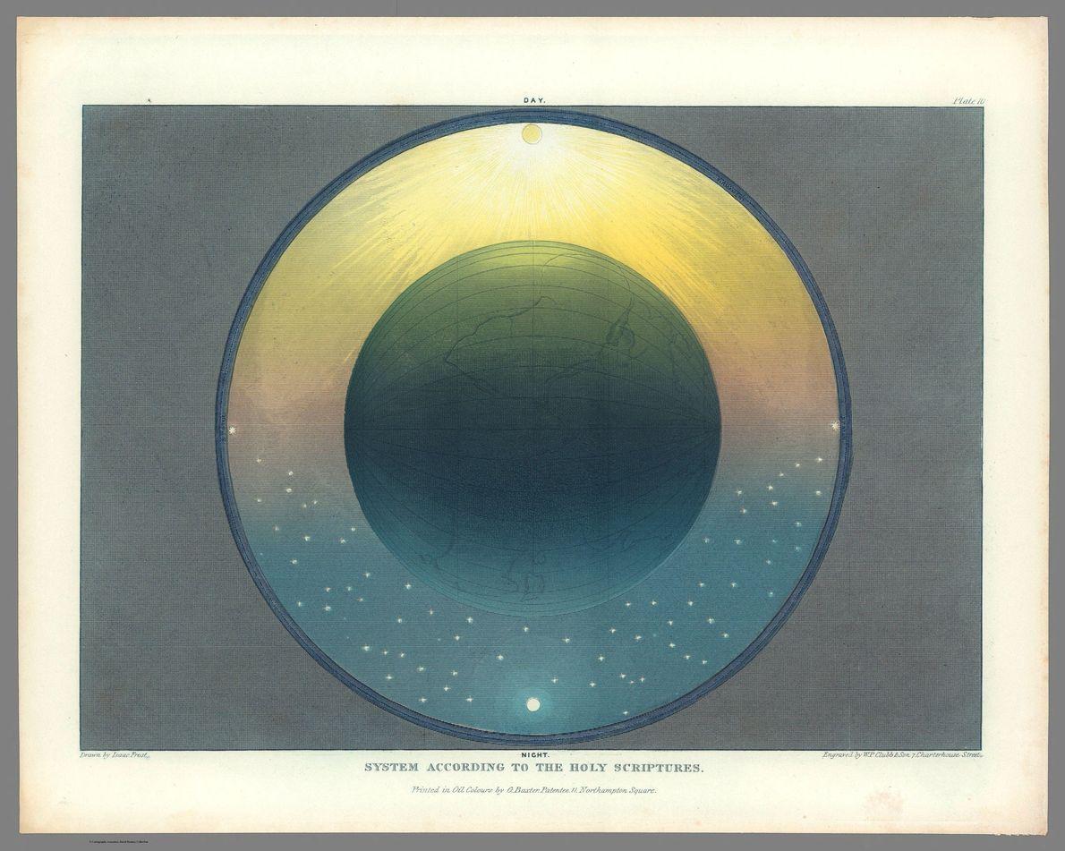 La Terre représentée en plus grand. Le Soleil (en haut) et la Lune (en bas) sont ...