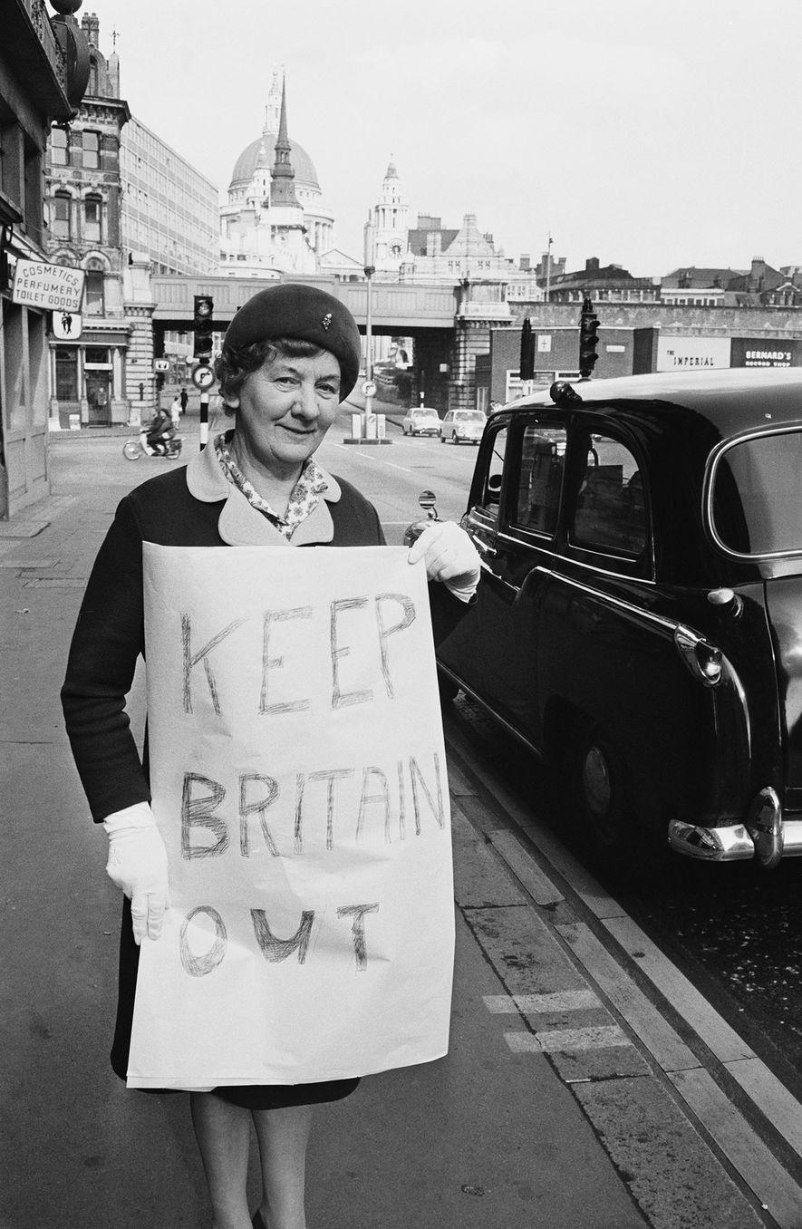 Bien avant le Brexit, dans les années 1970, les citoyens britanniques comme Georgina Pellham-Kept manifestaient contre ...
