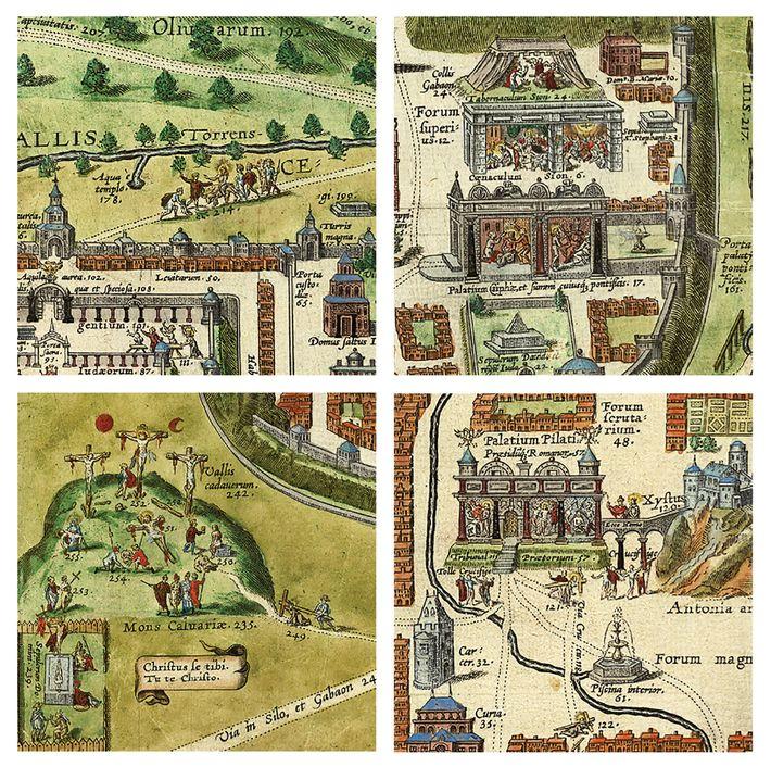 Détails de la carte de Van Adrichom qui représentent (dans le sens des aiguilles d'une montre, ...