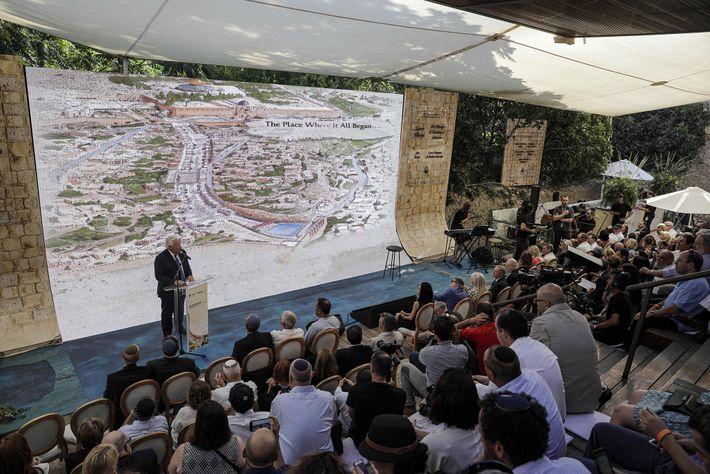 L'ambassadeur des États-Unis à Israël David Friedman prend la parole lors d'une cérémonie tenue en juin ...