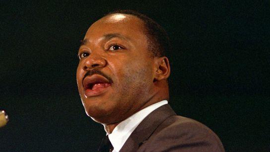 Le pasteur baptiste Dr. Martin Luther King Jr. lors d'un discours le 15 avril 1967 à ...