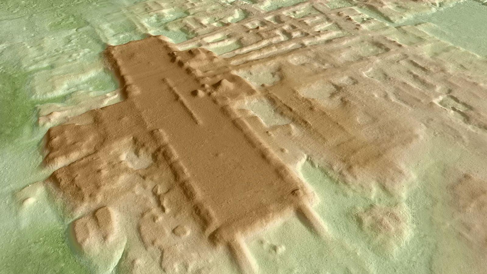 Une image 3D de la plate-forme monumentale d'Aguada Fénix (en brun foncé).La structure, construite il y ...