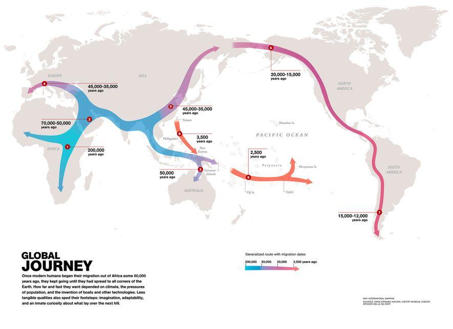 Les Hommes modernes ont migré depuis l'Afrique il y a 60 000 ans. Cette carte présente ...
