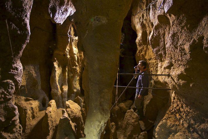 Le chef d'étude Antonio Rosas se trouve à l'intérieur de la grotte d'El Sidrón.