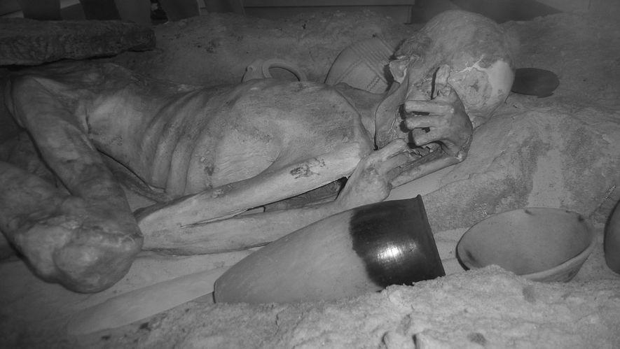 Cette image infrarouge montre la momie du jeune homme connu sous le nom de l'Homme de ...