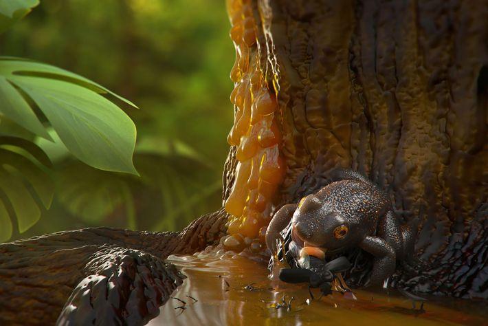 Cette illustration représente la façon dont une grenouille aurait pu être prise au piège dans la ...