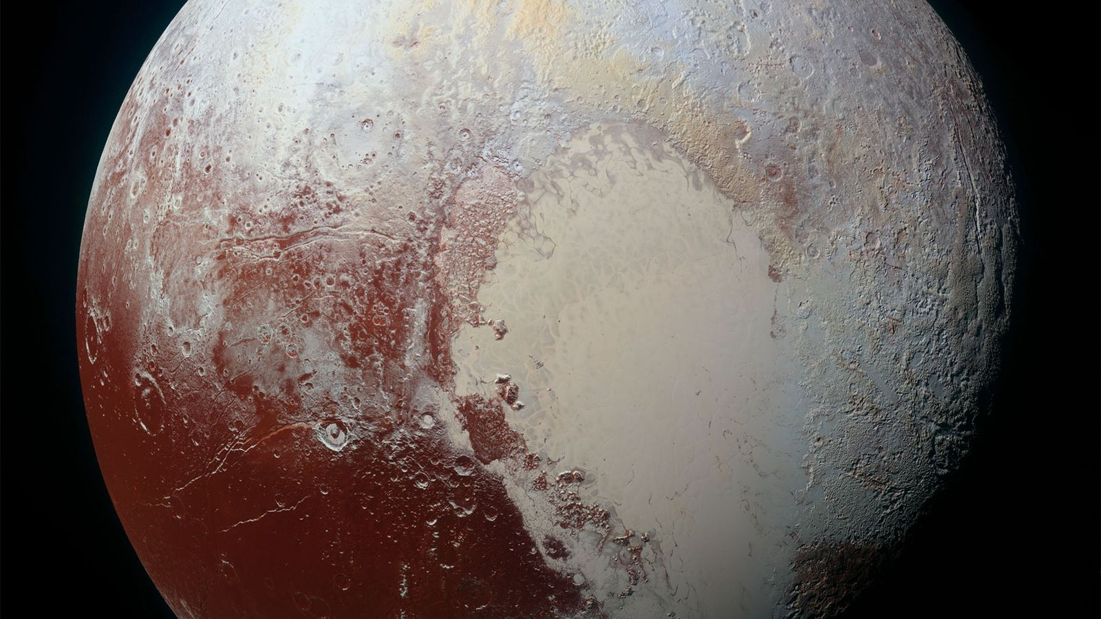NASA's New Horizons spacecraft captured this high-resolution, enhanced-color view of Pluto on July 14, 2015.