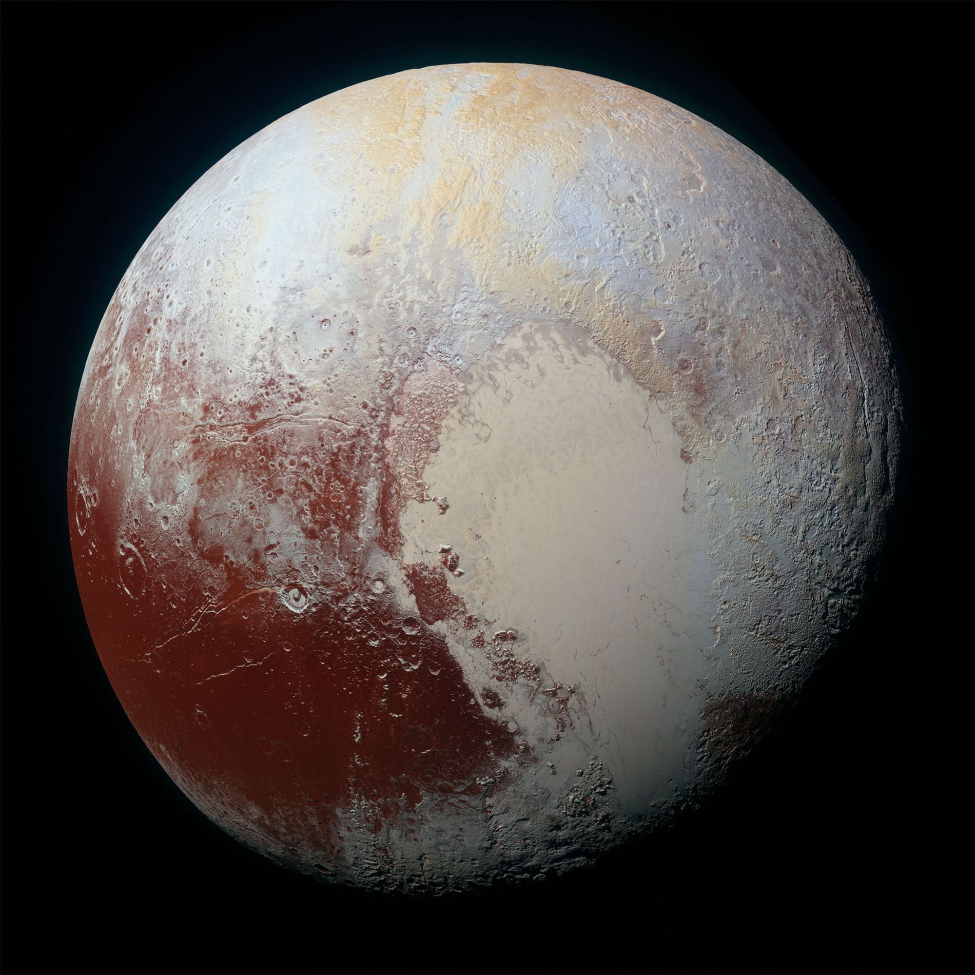NASA's New Horizons spacecraft captured this high-resolution, enhanced-color view of Pluto on July 14, 2015.  ...