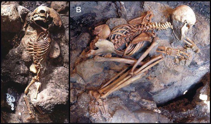 Les restes d'un enfant et d'un jeune adulte ont été mis au jour sous une épaisse ...