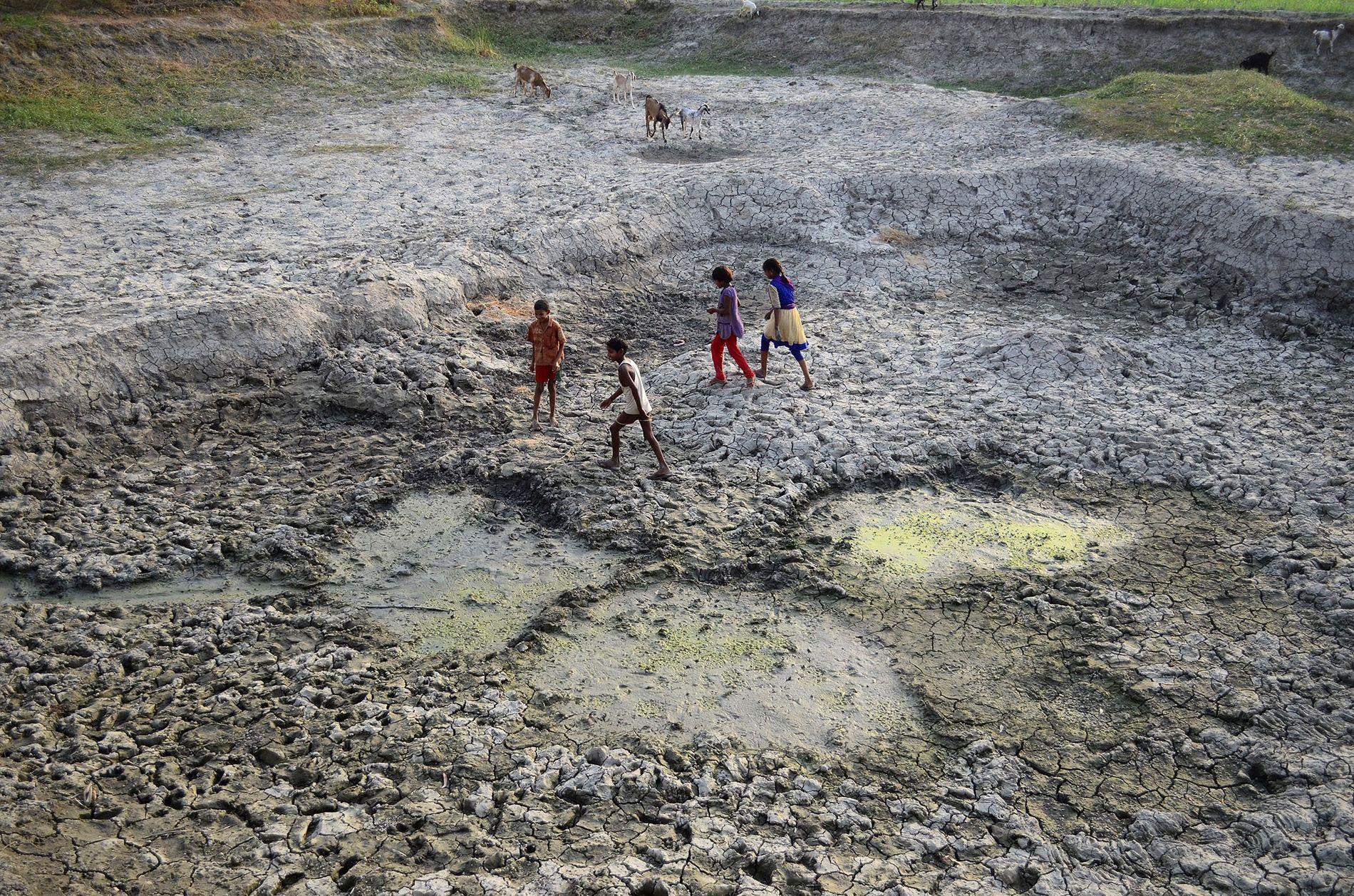Des enfants Indiens jouent sur une partie asséchée de la rivière Varuna, un affluent du Gange.