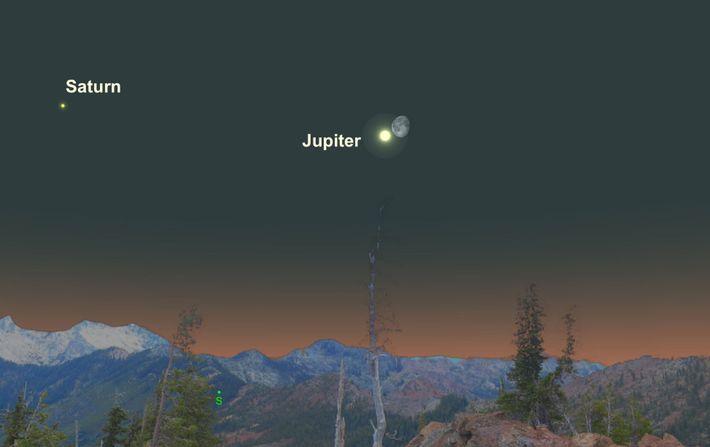 La lumineuse Jupiter sera particulièrement proche de la Lune gibbeuse décroissante le 23 avril.