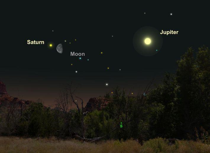 Saturne, teintée de couleur crème, s'approchera de la Lune le 25 avril.