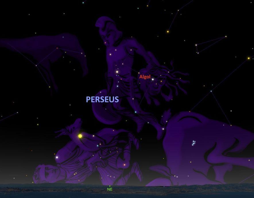 L'étoile clignotante Algol, située sur la tête de Méduse, semble portée par le héros Persée.