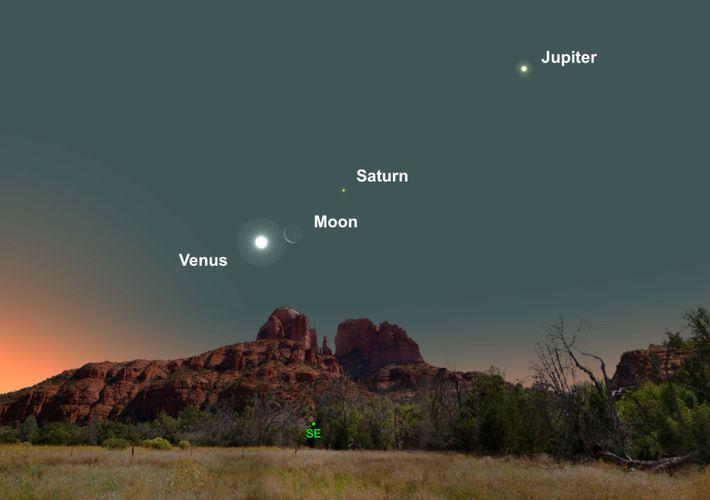 Trois planètes lumineuses rejoindront le croissant de lune à l'aube, début mars.