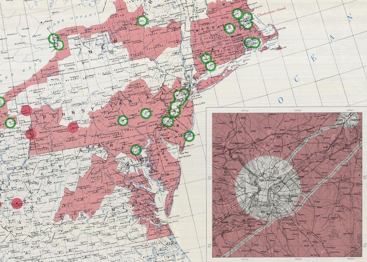 Détail de la région Mid-Atlantic des États-Unis sur une carte datant de 1957. L'encadré montre les ...
