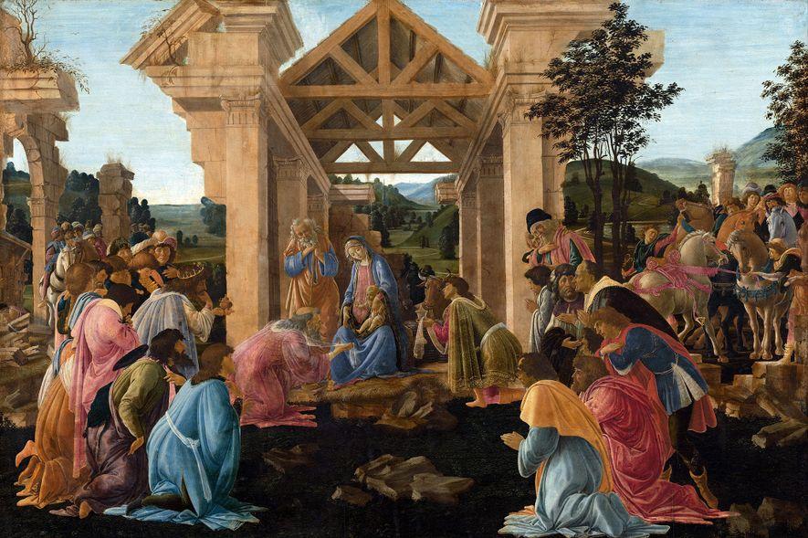 """Les trois mages présentent leurs offrandes à Jésus dans """"L'adoration des mages"""" de Sandro Botticelli (ca ..."""