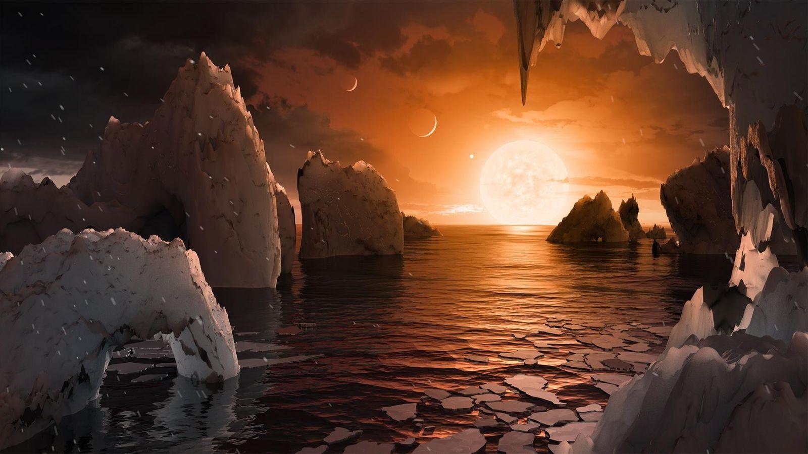 Illustration montrant la surface supposée de la planète TRAPPIST-1f.