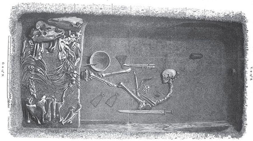Illustration d'Evald Hansen d'après les plans originaux de la tombe réalisés par l'excavateur Hjalmar Stolpe en ...