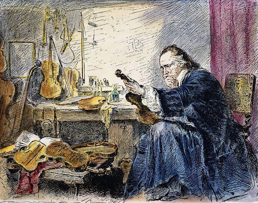 Dans cette illustration, le maître luthier Antonio Stradivari inspecte une de ses créations dansson atelier de ...