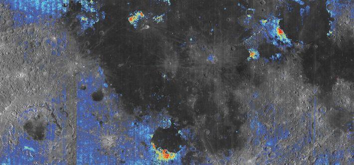 Cette carte illustre les endroits à la surface de la Lune où se trouvent les dépôts ...