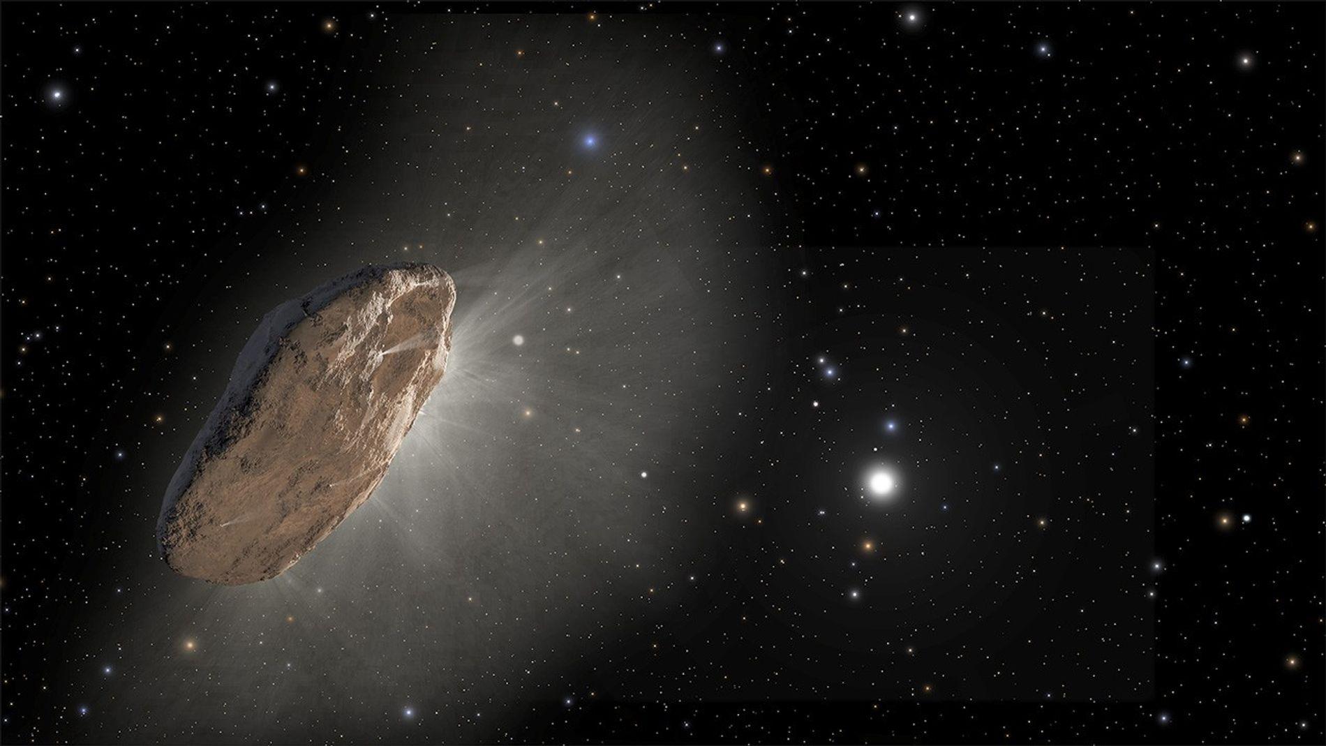 Cette vision d'artiste représente 'Oumuamua, le premier visiteur interstellaire détecté. Le 30 août, un astronome amateur ...
