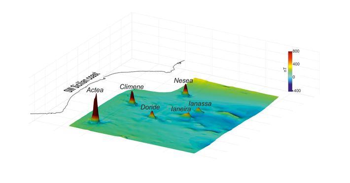 Cette carte en 3D révèle les anomalies magnétiques découvertes sur le plancher océanique du canal de ...