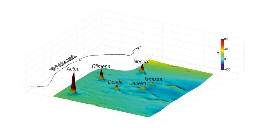 Cette carte en 3D révèle les anomalies magnétiques découvertes sur le plancher océanique du canal de Sicile. Chaque sommet correspond aux volcans tout récemment identifiés.