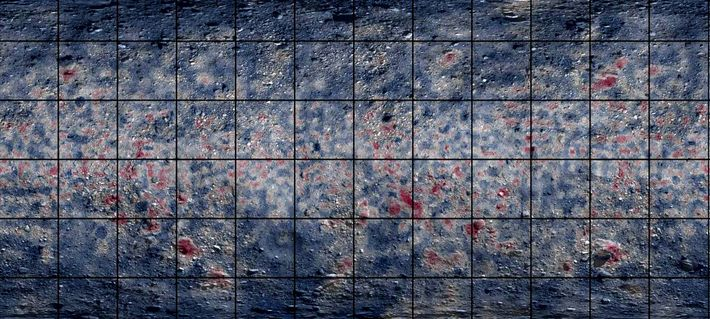 Cette carte de l'astéroïde Bénou établie par spectroscopie infrarouge fait ressortir les zones riches en matériaux ...