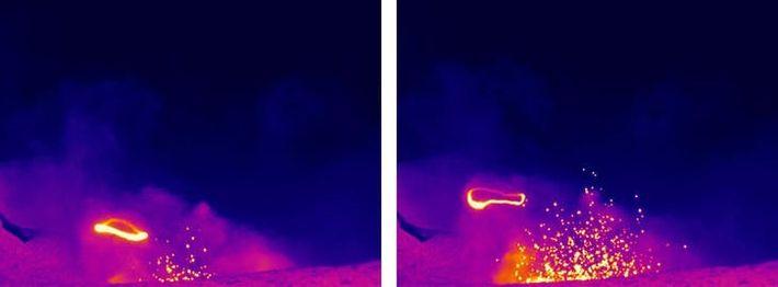 Une série d'images infrarouges montre la formation et la dissipation d'un cercle de fumée au-dessus du ...