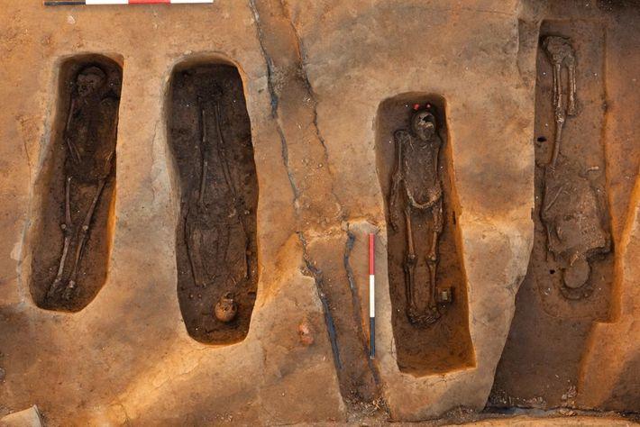 Les archéologues ont découvert les quatres tombes dans le chœur de l'église de Jamestown, un emplacement ...