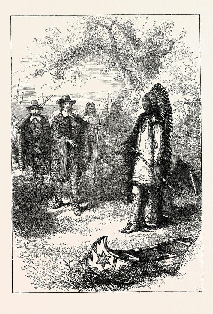 Le pèlerin Edward Winslow rend visite à Massasoit, le Sachem des Wampanoag.