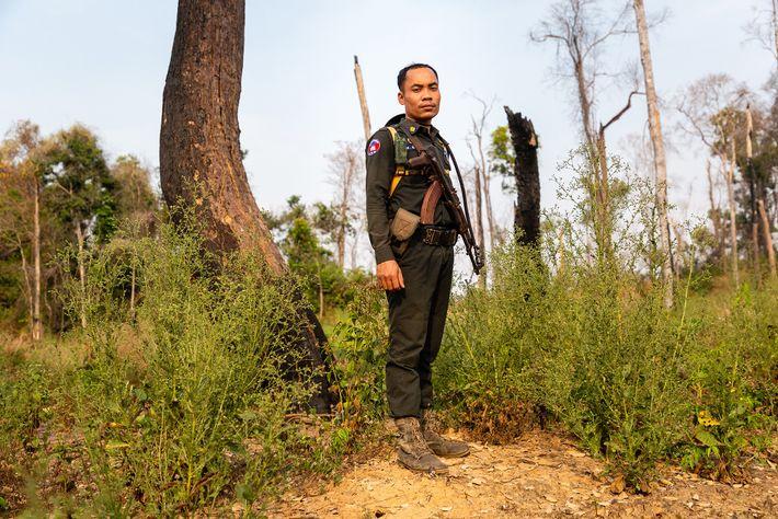 Un policier militaire chargé de surveiller l'exploitation forestière illégale dans le sanctuaire.
