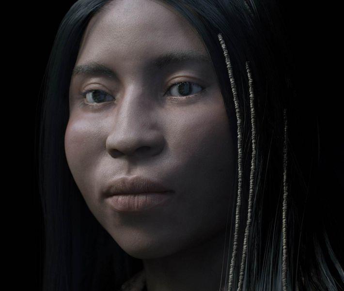 Les minuscules perles de pierre, découvertes autour du crâne de la jeune femme, semblent indiquer qu'elles ...