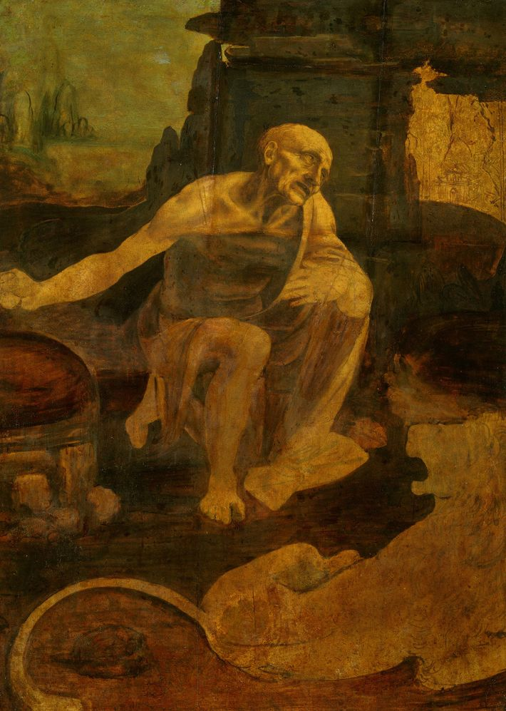 La peinture inachevée de Saint Jérôme de Léonard de Vinci, actuellement conservée au Musée de la ...
