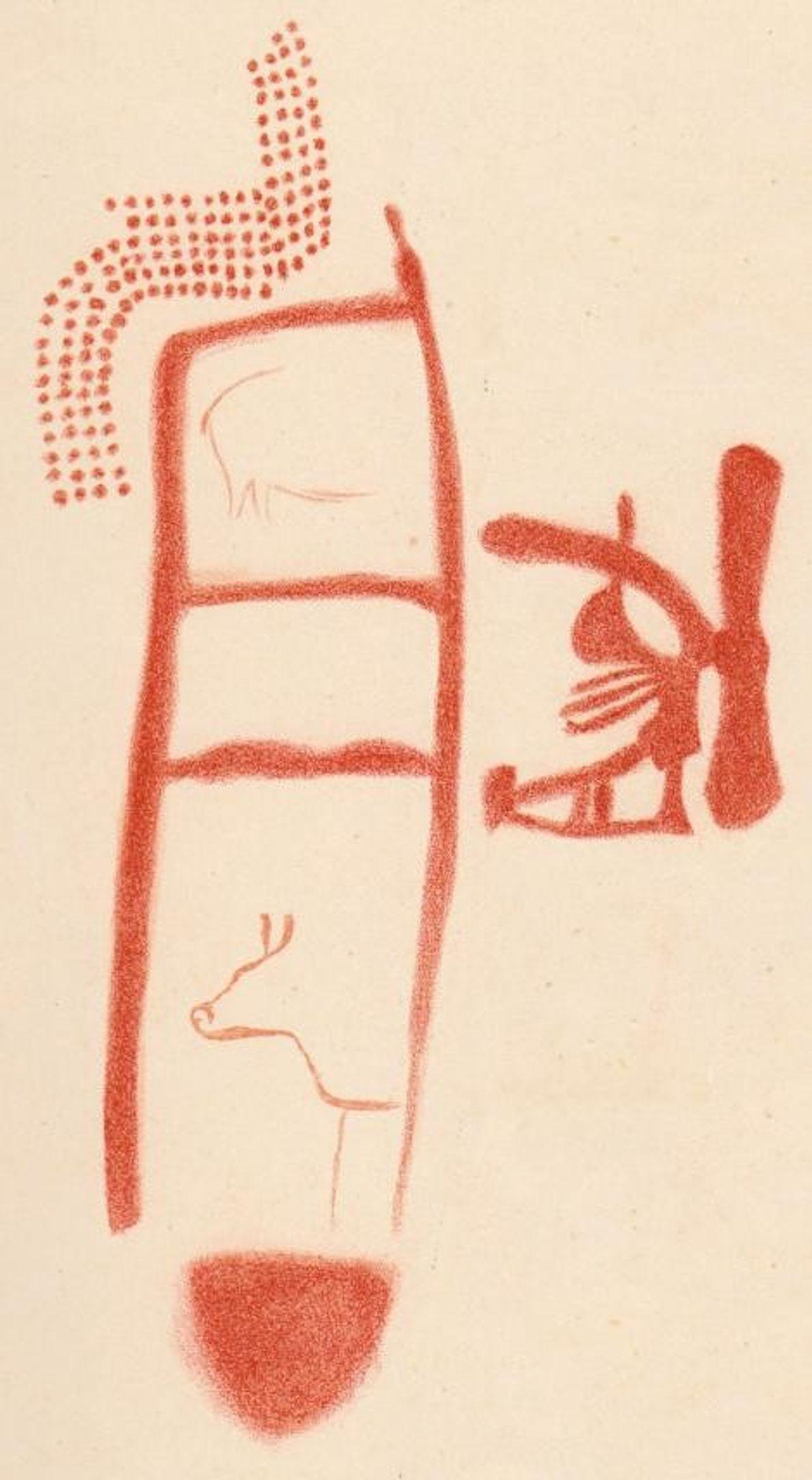 Un dessin montre des animaux et d'autres symboles autour de la forme de l'échelle. Il est ...