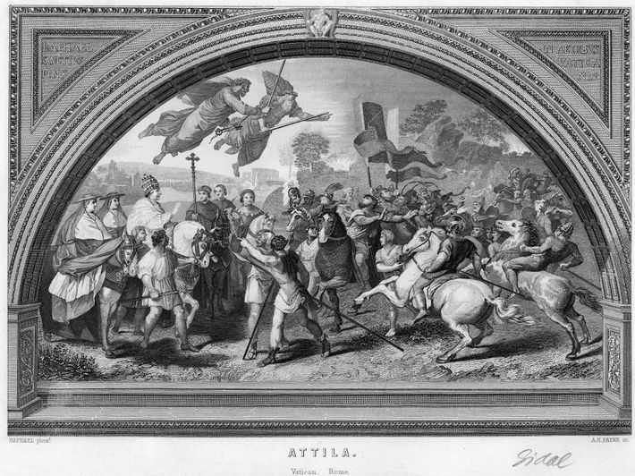 Cette gravure basée sur une fresque de Raphaël datant du 16e siècle représente Attila, roi des ...