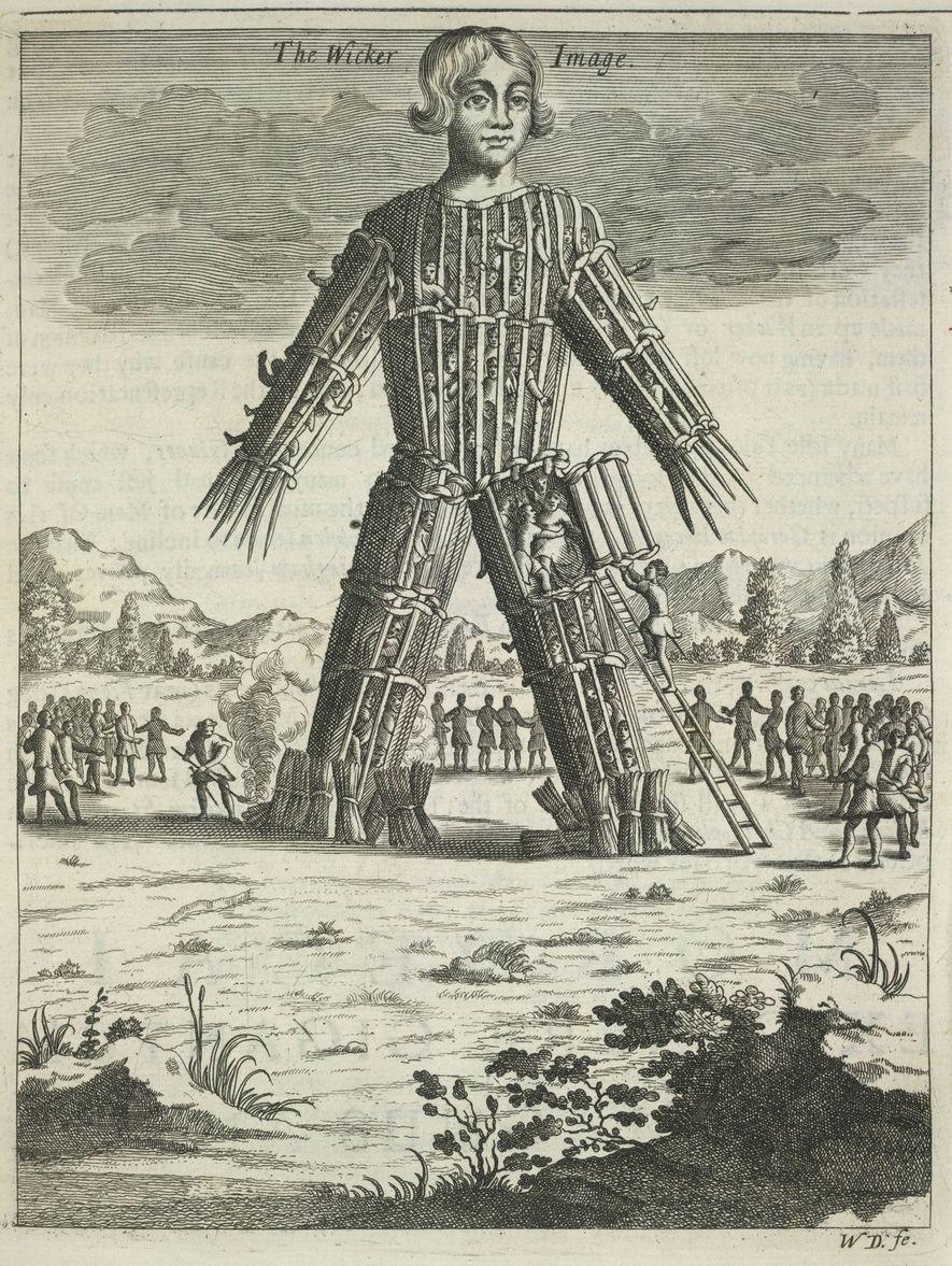 Illustration du 17e siècle représentant un Homme d'osier, une pratique celte au cours de laquelle, selon ...