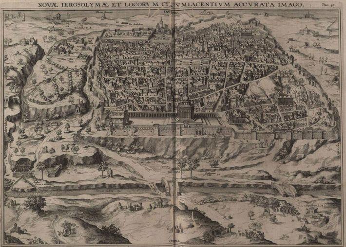 Le moine franciscain Francisco Quaresmius a publié cette carte plus réaliste de Jérusalem en 1639. Il ...