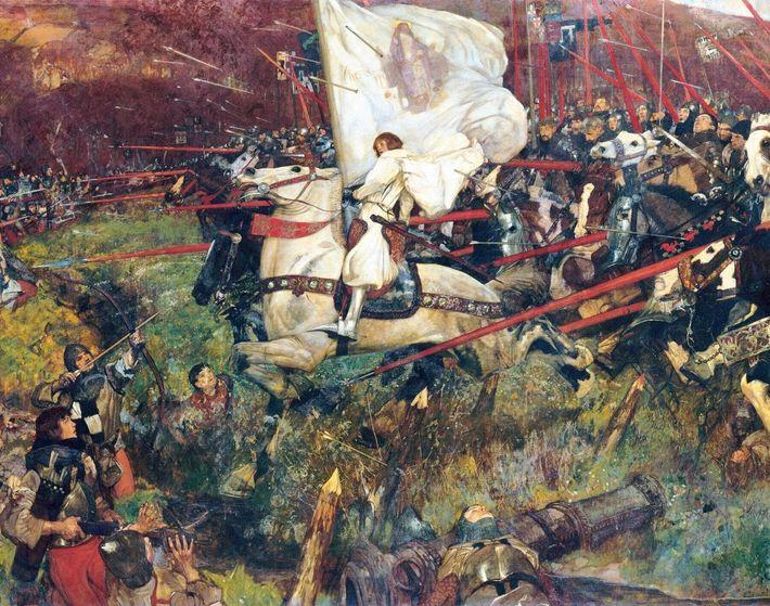 Dirigeant la cavalerie française, Jeanne voit fondre sur elle dans une pluie de flèches anglaises à ...