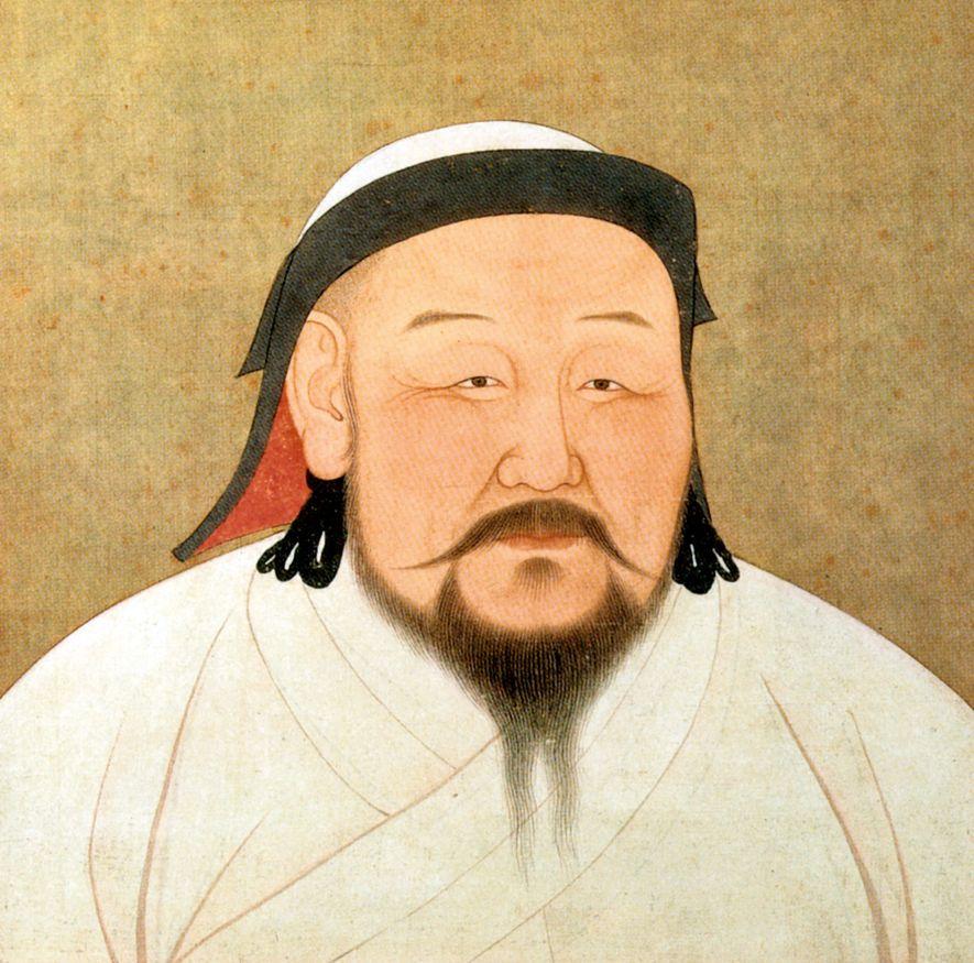 Portrait sur soie de Kubilaï Khan, peint en 1294, peu de temps après sa mort, visible ...