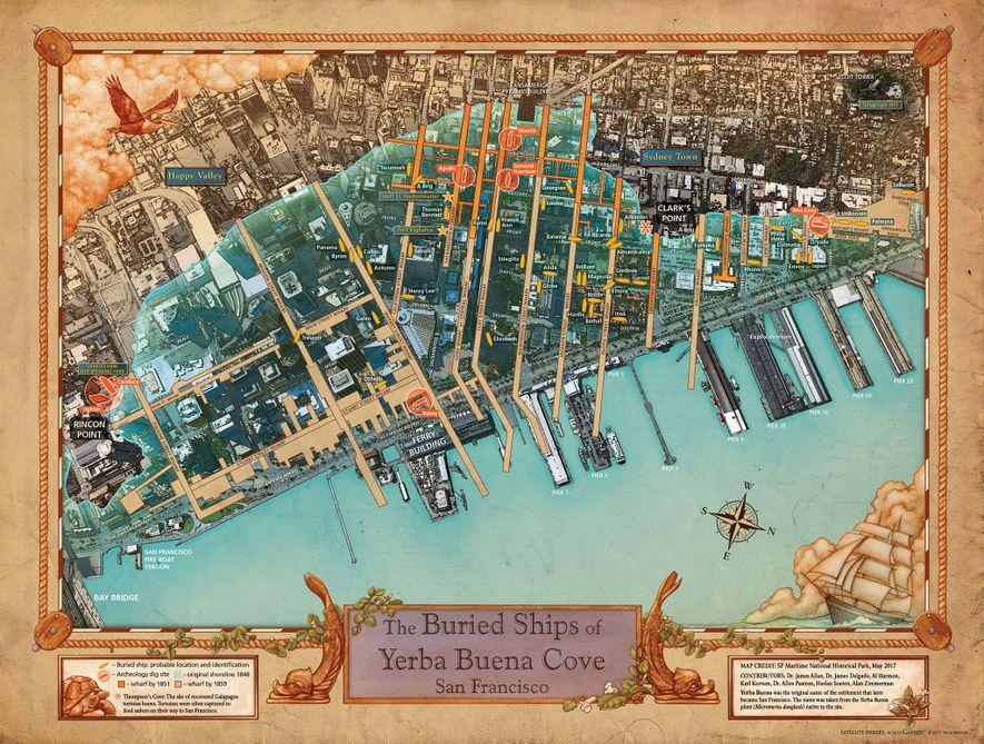 Les cartographes apportent à l'heure actuelle la touche finale à la nouvelle carte qui apparaîtra dans la salle dédiée aux visiteurs du Maritime National Historical Park de San Francisco.