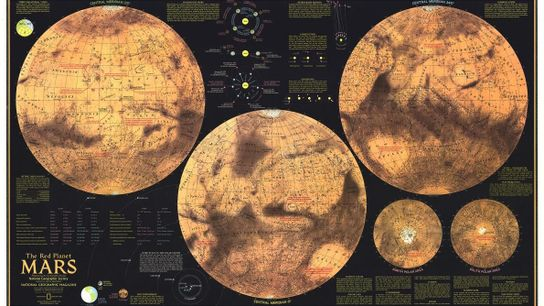 Les cinq vues de Mars dans ce supplément du numéro de février 1973 de National Geographic ...